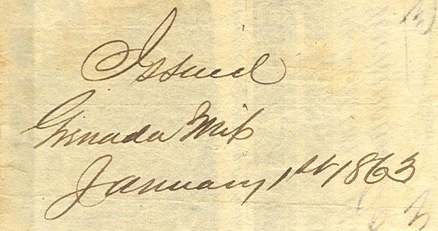 Grenada Ms Jan 1 1863