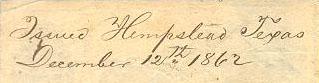 Hempstead Tx Dec 12 1862