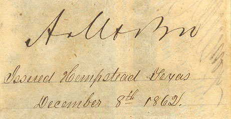 Hempstead Tx Dec 8,1862