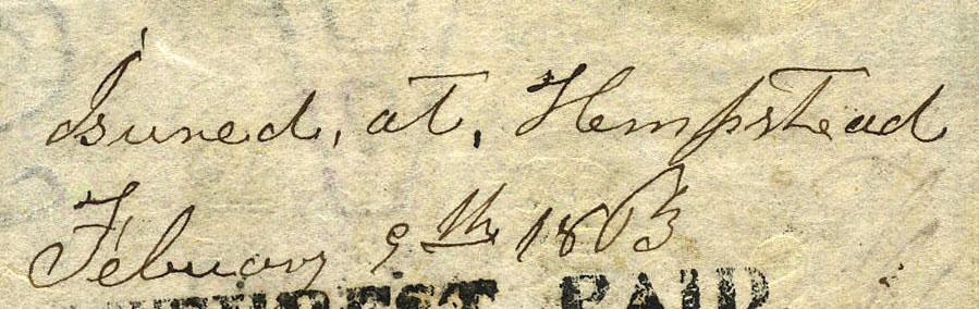 Hempstead Tx Feb 9 1863