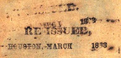 Houston Tx ReIssue March nd 1863