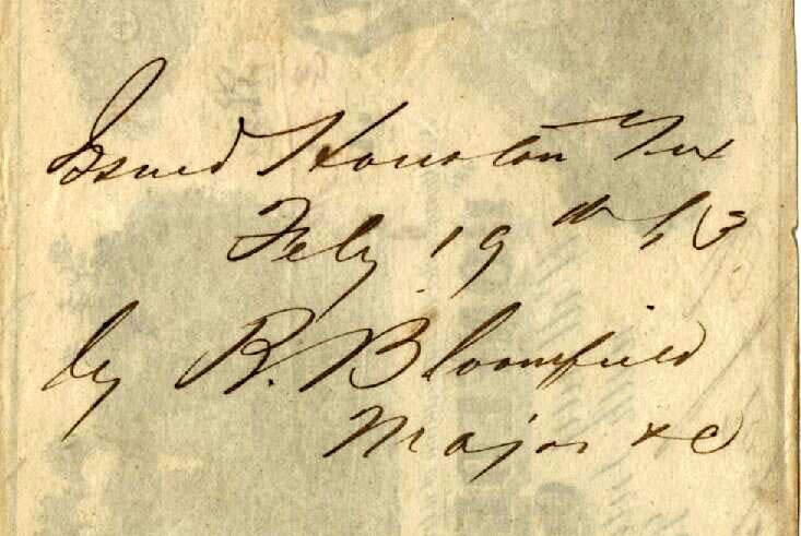 Houston Tx Feb 19 1863 Bloomfield