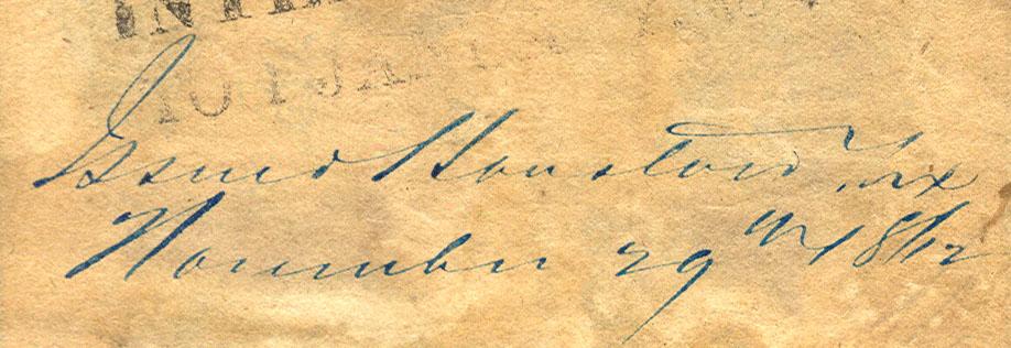Houston Tx Nov 29 1862