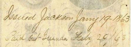 Jackson Miss Jan 19 1863 w Grenada
