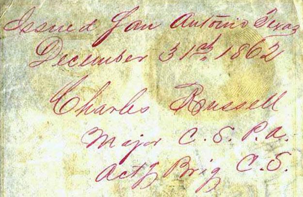 San Antonio Tx Dec 31 1862 Maj Russell
