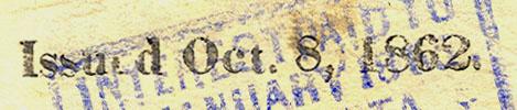 Unknown Stamp Oct 8 1862